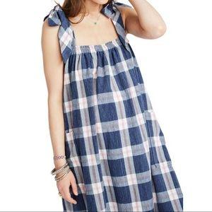 NWT Hatch Alexia blue plaid maternity dress